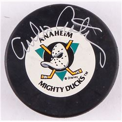 "Emilio Estevez Signed ""Mighty Ducks"" Logo Hockey Puck (Schwartz COA)"