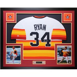 Nolan Ryan Signed Astros 35x43 Custom Framed Jersey (Ryan Hologram)