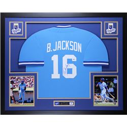 Bo Jackson Signed Royals 35  x 43  Custom Framed Jersey (Beckett COA)