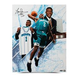 "Larry Johnson Signed Hornets ""NO. 1"" 16x20 Photo (UDA COA)"