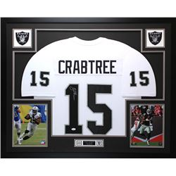 "Michael Crabtree Signed Raiders 35"" x 43"" Custom Framed Jersey (JSA COA)"