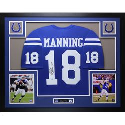 Peyton Manning Signed Colts 35  x 43  Custom Framed Jersey (Steiner COA)