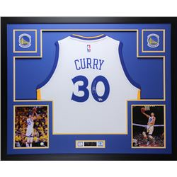 "Stephen Curry Signed Warriors 35"" x 43"" Custom Framed Jersey (Fanatics Hologram)"