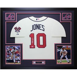 "Chipper Jones Signed Braves 35"" x 43"" Custom Framed Jersey (PSA COA)"
