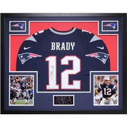 Tom Brady Signed Patriots 35  x 43  Custom Framed Jersey (Steiner COA  TriStar)