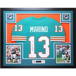 "Dan Marino Signed Dolphins 35"" x 43"" Custom Framed Jersey (JSA COA)"