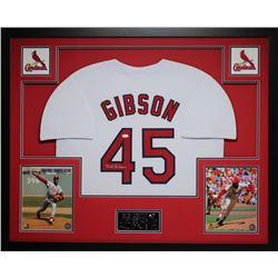 "Bob Gibson Signed Cardinals 35"" x 43"" Custom Framed Jersey (JSA COA)"