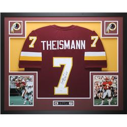 Joe Theismann Signed Redskins 35  x 43  Custom Framed Jersey Inscribed  83 NFL-MVP  (JSA COA)