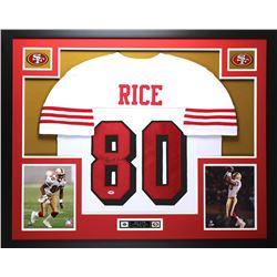 Jerry Rice Signed 49ers 35  x 43  Custom Framed Jersey (PSA COA)