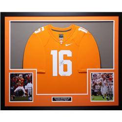 "Peyton Manning Signed Tennessee Volunteers 35"" x 43"" Custom Framed Jersey (Steiner COA  Fanatics Hol"