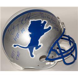 Barry Sanders Signed Lions Authentic On-Field Helmet with (7) Inscriptions (Schwartz COA)