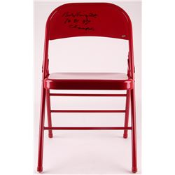 Bob Knight Signed Red Metal Folding Chair Inscribed  76, 81, 87 Champs  (Schwartz COA)