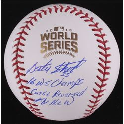 Lester Strode Signed Official 2016 World Series Baseball Inscribed  16 WS Champs ,  Curse Reversed