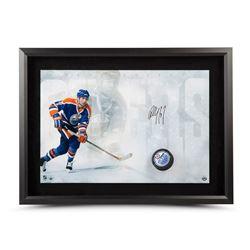 """Paul Coffey Signed Oilers """"Slap Shot Breaking Through"""" 16"""" x 24"""" Custom Framed Hockey Puck Display ("""