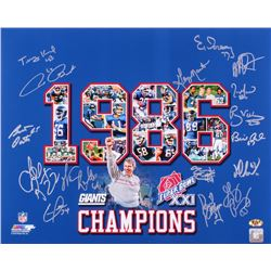 1986 Giants Super Bowl XXI Champions 16x20 Photo Team-Signed by (16) with Terry Kinard, Jim Burt, Ba
