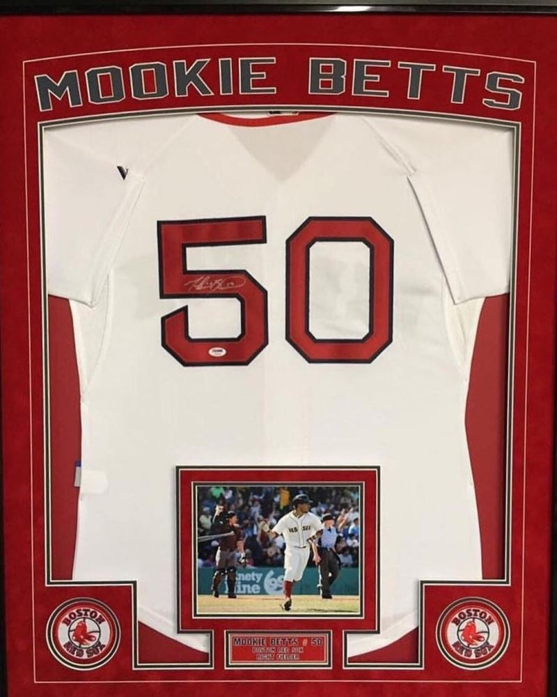 best service 282ba 1c805 Mookie Betts Signed Red Sox 36x42 Custom Framed ...