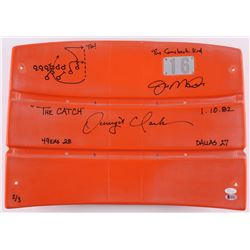 """Joe Montana  Dwight Clark Signed LE Candlestick Park Orange #16 Seat Back with Hand-Drawn """"The Catch"""
