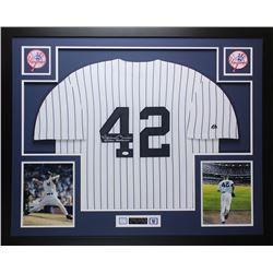 "Mariano Rivera Signed Yankees 35"" x 43"" Custom Framed Jersey Inscribed ""Enter Sandman"" (JSA COA)"