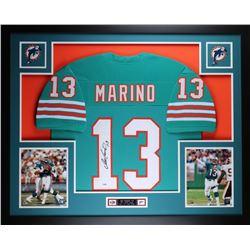 """Dan Marino Signed Dolphins 35"""" x 43"""" Custom Framed Jersey (PSA COA)"""