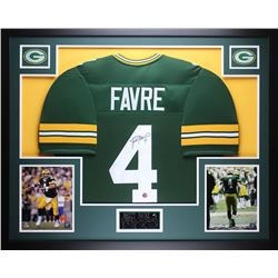 """Brett Favre Signed Packers 35"""" x 43"""" Custom Framed Jersey (Favre COA)"""