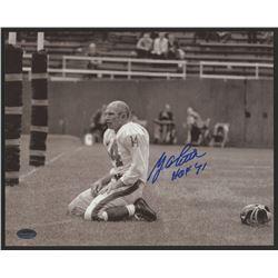 "Y. A. Tittle Signed Giants 8x10 Photo Inscribed ""HOF 71"" (Schwartz COA)"