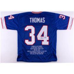 Thurman Thomas Signed Bills Career Highlight Stat Jersey (JSA COA)