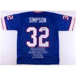 OJ Simpson Signed Bills Career Highlight Stat Jersey (JSA COA)
