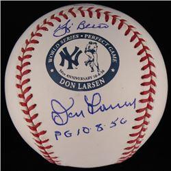 """Yogi Berra  Don Larsen Signed Don Larsen Commemorative OML Logo Baseball Inscribed """"PG 10-8-56"""" (MAB"""