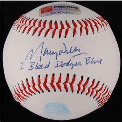 "Maury Wills Signed Baseball Inscribed ""I Bleed Dodger Blue"" with Original Fingerprint (PA COA)"