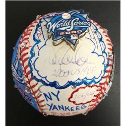 Derek Jeter Signed New York Yankees 2000 World Series MVP Baseball Hand-Painted by Charles Fazzino I