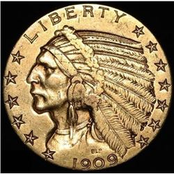 1909-D $5 Five Dollars Indian Head Half Eagle Gold Coin