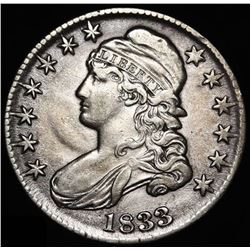 1833 50¢ Capped Bust Silver Half Dollar Coin