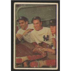 1953 Bowman Color #44 Yogi Berra / Hank Bauer / Mickey Mantle