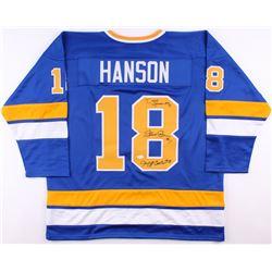 "Dave Hanson, Steve Carlson  Jeff Carlson Signed Hanson Brothers ""Slap Shot"" Chiefs Jersey (JSA COA)"
