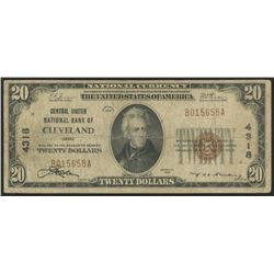 1929 $20 Twenty Dollars U.S. National Currency Bank Note (Central United National Bank of Cleveland
