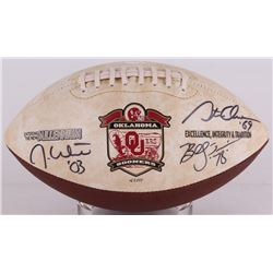Jason White, Billy Sims  Steve Owens Signed Oklahoma Sooners Logo Football (JSA COA)