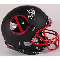 Stan Lee Signed Custom Matte Black  Deadpool  Full-Size Helmet (Lee Hologram)