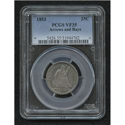 1853 Seated Liberty Silver Quarter Dollar Arrows and Rays (PCGS VF 35)