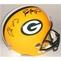 Aaron Rodgers  Brett Favre Signed Packers Full-Size Helmet (Steiner Hologram  Radtke COA)