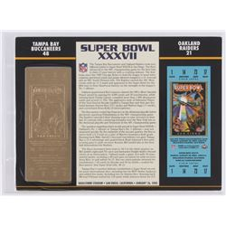 Commemorative Super Bowl XXXVII Score Card With 22kt Gold Ticket: Buccaneers vs Raiders