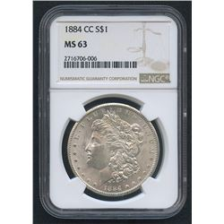 1884-CC Morgan Silver Dollar (NGC MS 63)