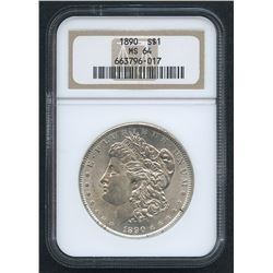 1890 Morgan Silver Dollar (NGC MS 64)