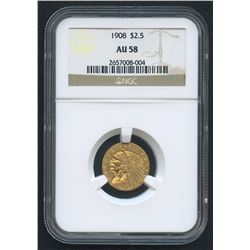 1908 $2.50 Indian Head Quarter Eagle Gold Coin (NGC AU 58)