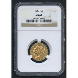 1913 $5 Indian Head Half Eagle Gold Coin (NGC MS 61)