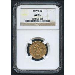 1899-S $5 Liberty Head Half Eagle Gold Coin (NGC AU 55)