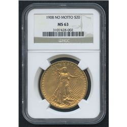 1908 No Motto $20 Saint-Gaudens Double Eagle Gold Coin (NGC MS 63)