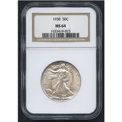 1938 50¢ Walking Liberty Silver Half Dollar (NGC MS 64)