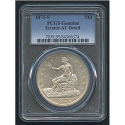 1875-S $1 Trade Silver Dollar (PCGS AU Detail)