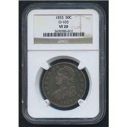 1833 O-103 50¢ Capped Bust Half Dollar (NGC VF 20)