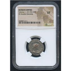AD 253 - 260 Original Roman Empire Roman Silver Antoninianus of Valerian 1st Coin Bi Double Denarius